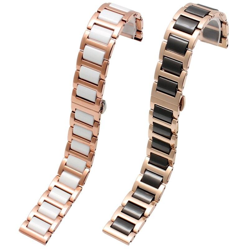 Image 5 - high quality Ceramic bracelet For Fiyta Four leaf clover waterproof mechanical watchband femal wristband 14mm 16mm 18mmWatchbands   -