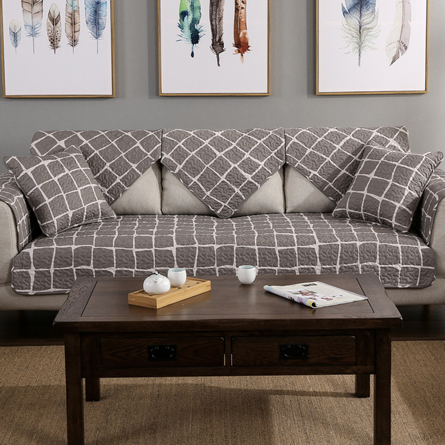 Europe Style Sofa Cover Cotton Geometric Pattern Couch Slipcover Four Seasons Available For Living Room