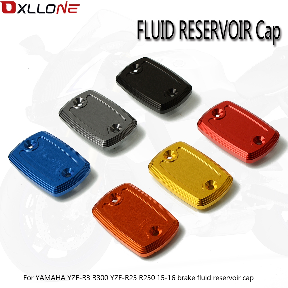 CNC Motorcycle Brake Fluid Reservoir Cap oil cup For YAMAHA YZF R3 YZFR3 YZF R3 R300 YZF R25 YZFR25 YZF R25  R250 2015 2016-in Covers & Ornamental Mouldings from Automobiles & Motorcycles