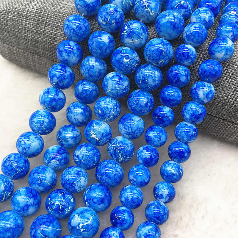Wholesale 4/6/8/10mm Blue Glass Beads Round Loose Spacer Beads Pattern For Jewelry Making DIY Bracelet Necklace #11
