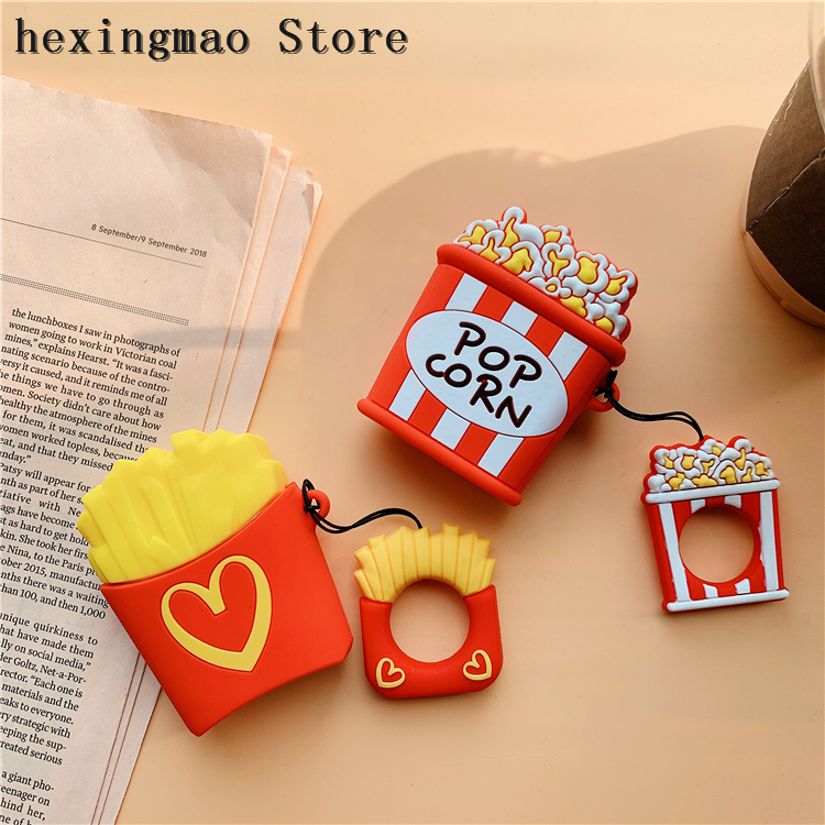 Reliable Cartoon French Fries Popcorn Wireless For Iphone Airpods For Iphone Headset Case Couples Soft Tpu Cover Cases With The Ring Phone Pouch
