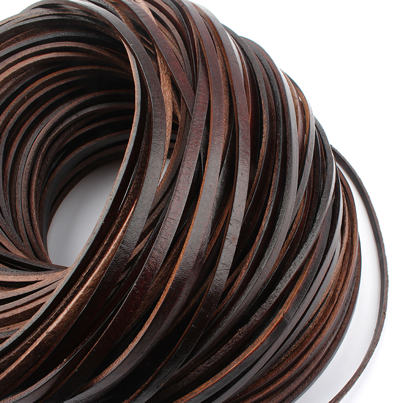 2019 New Fashion 5m Long *3mm/4mm/5mm Wide Red Coffee Flat Real Genuine Leather Cord For DIY Necklace Bracelet Making