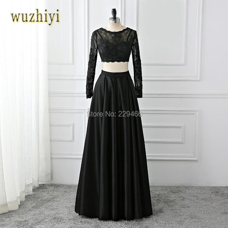 wuzhiyi AppliquesTwo Piece prom dress 2017 cap sleeve vestidos de baile long sleeve evening gown black vestido de noiva simples