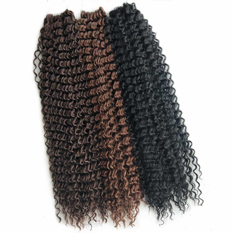 Pervado Hair 18inch Bohemian Braids Deep Wave Hair Black Brown Pure Color Synthetic Crochet Braiding Hair Extensions