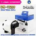 2 рулона совместимы DK-11209 этикеткой 62 мм * 29 мм совместимы с принтером Brother Label все поставляются с пластиковым держателем 800 шт/рулон