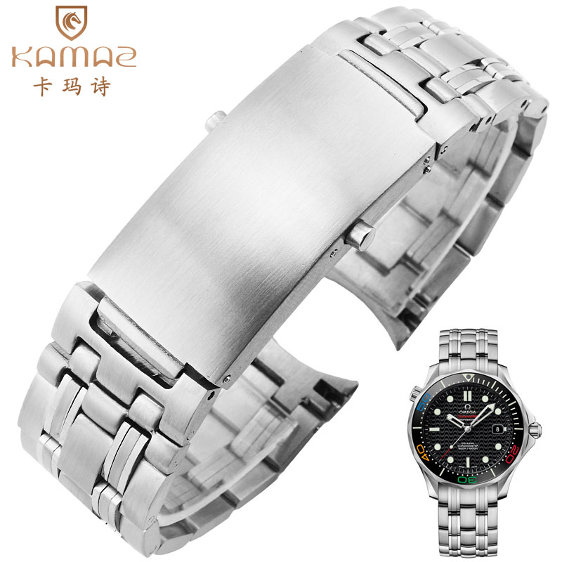 A curved steel strap Seahorse Ocean Universe Series Fine Steel 20mm Solid Stainless Steel Chain Brachial Band Men