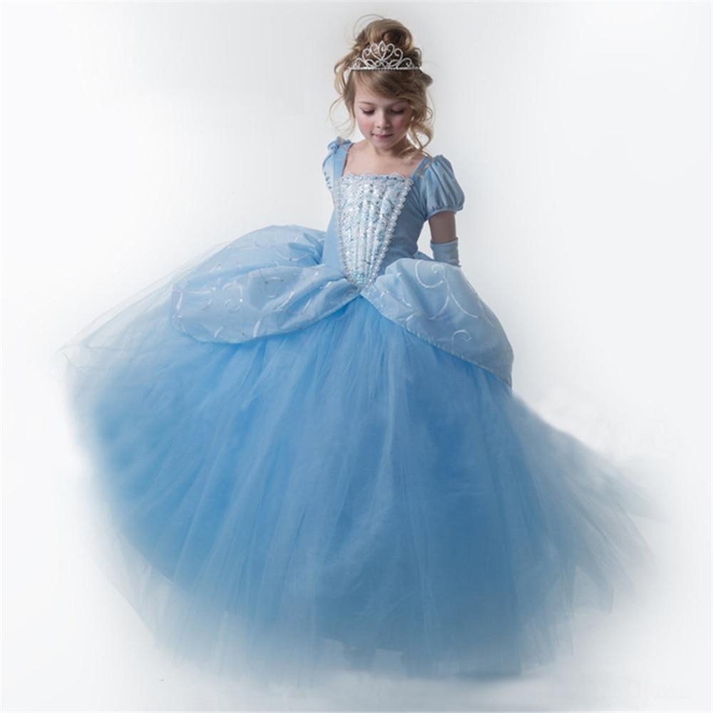 Girls Blue Ball Gown New Movie Princess Cinderella Cosplay Costume ...