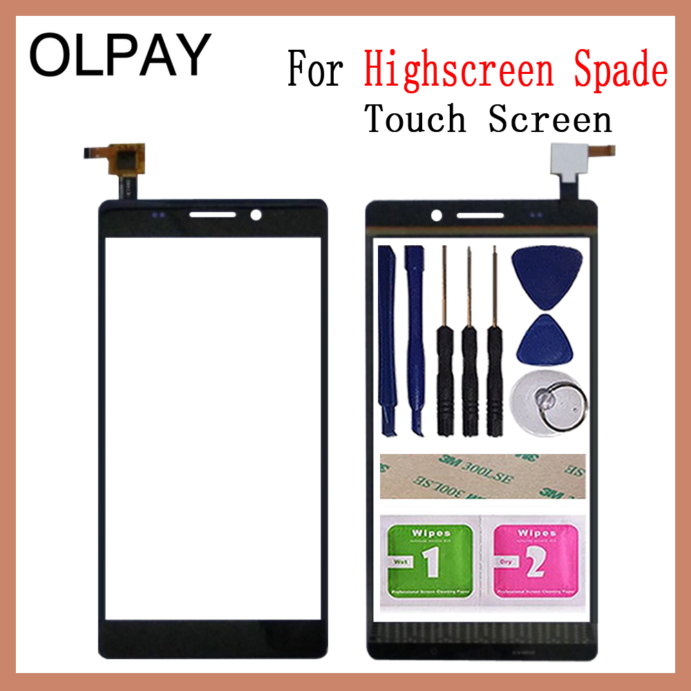 OLPYA 5.5'' Mobile Phone Touchscreen For Highscreen Spade Touch Screen Glass Digitizer Panel Lens Sensor Glass Free Adhesive