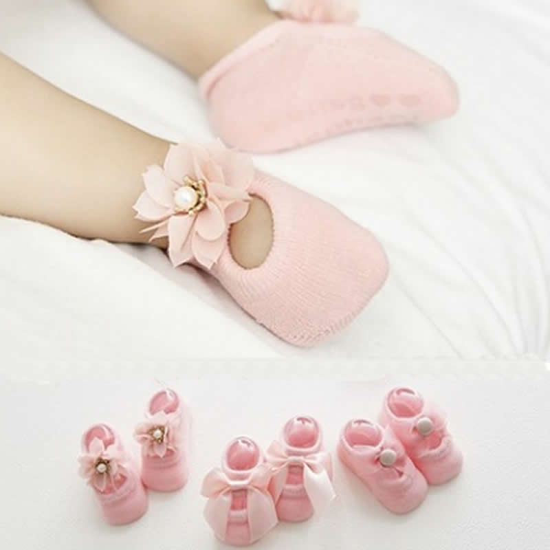 Baby Lace Floor Sock Summer Korean Thin Cotton Hollow Boat Socks Infant Child Baby Flower Bow Double Lace Non-slip Socks