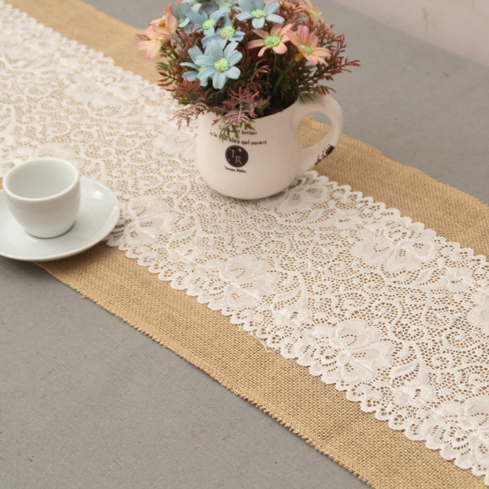 Modern jute lace table runners vintage tablecloth home textile 30x180cm luxury burlap and lace table runner wedding decoration