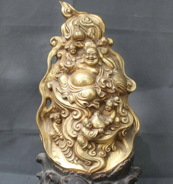 18 Chinese Bronze Gold Fu Wealth Happy Laugh Maitreya Buddha & 5 Kids Statue18 Chinese Bronze Gold Fu Wealth Happy Laugh Maitreya Buddha & 5 Kids Statue