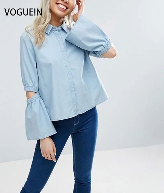 f4191d4651 N New Womens Spring Flounced Sleeve Light Blue Button Down Shirt Blouse  Denim Tops Size SML Wholesale