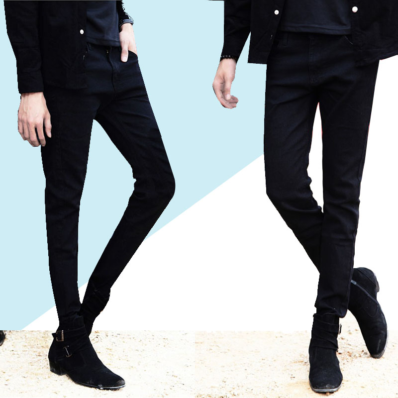 Men   Jeans   Male Fashion Designer Brand Black White Red   Jeans   New Pants Slim Skinny Long Trousers Stretch   Jeans   for Man