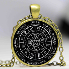 Free shipping Pagan Wheel of the Year Necklace, Pagan Pendant Pagan Glass Dome Necklace for women HZ1