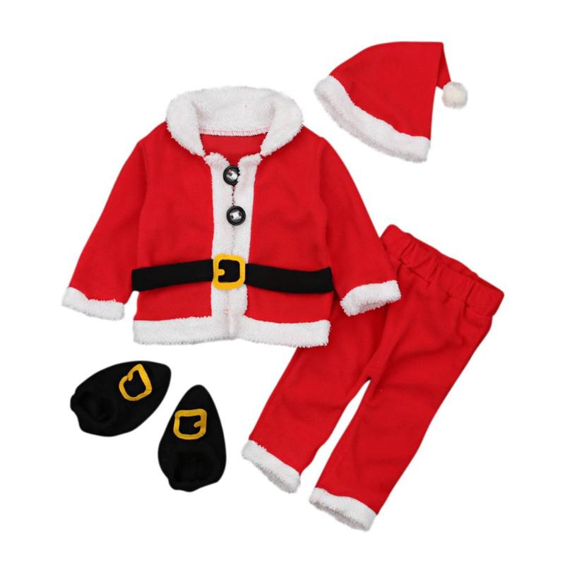 4pcs/Set Baby Christmas Cute Cosplay Costume Soft Warm Coat Pants Hat Socks