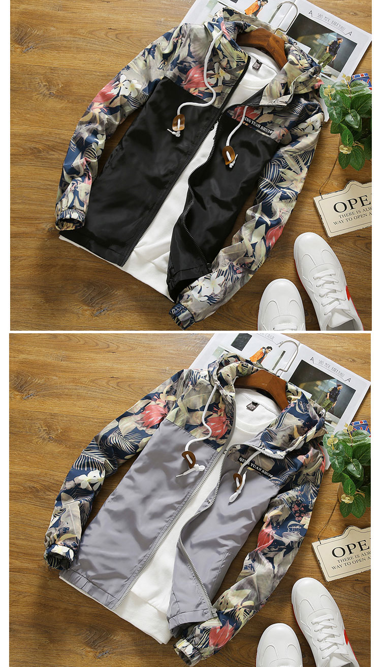 HTB1MJtLtFmWBuNjSspdq6zugXXaD Women's Hooded Jackets 2018 Autumn Causal Flowers Windbreaker Women Basic Jackets Coats Zipper Lightweight Jackets Bomber Famale