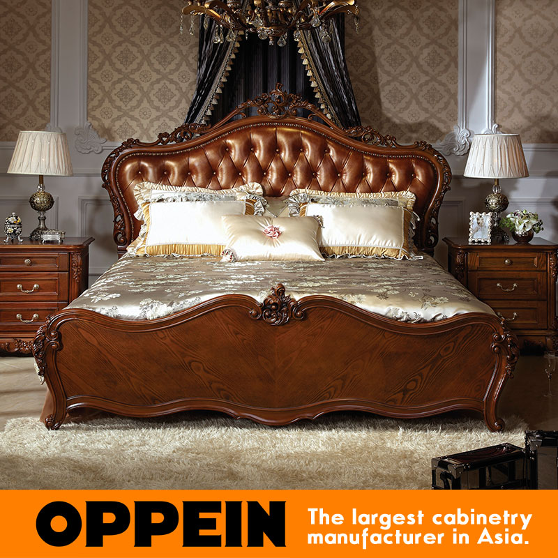 Luxury Traditional Bed With Solid Wood Headboard bedroom furniture from  China furniture factory OB-0314044