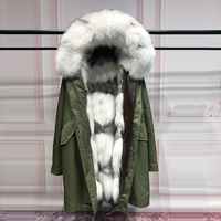 Fashion Real Silver Fox Fur Liner Winter Jacket Women Army Green Parka Coat Raccoon Fur Collar