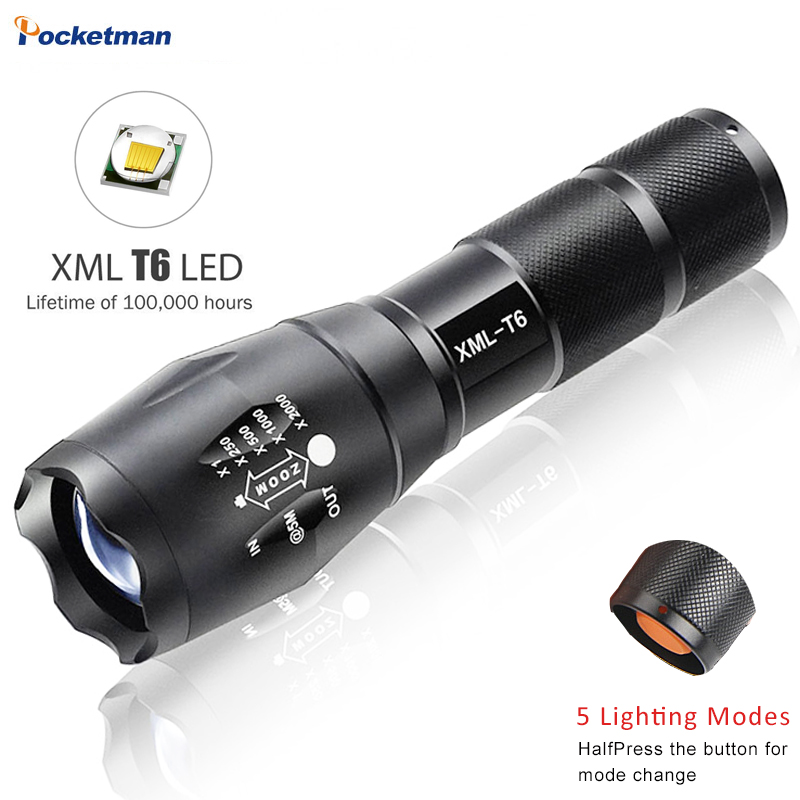 Powerful Led Flashlight XM-L T6 Tactical Torch Waterproof Flashlights 5-Modes Zoomable Light  18650 Rechargeable Battery Or AAA