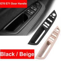 1PCS Bege Preto Assento de Carro de apoio de Braço Dianteiro Esquerdo do Motorista LHD Interior Painel Puxar Maçaneta Da Porta Interior Guarnição Da Tampa para BMW E70 E71 X5 X6