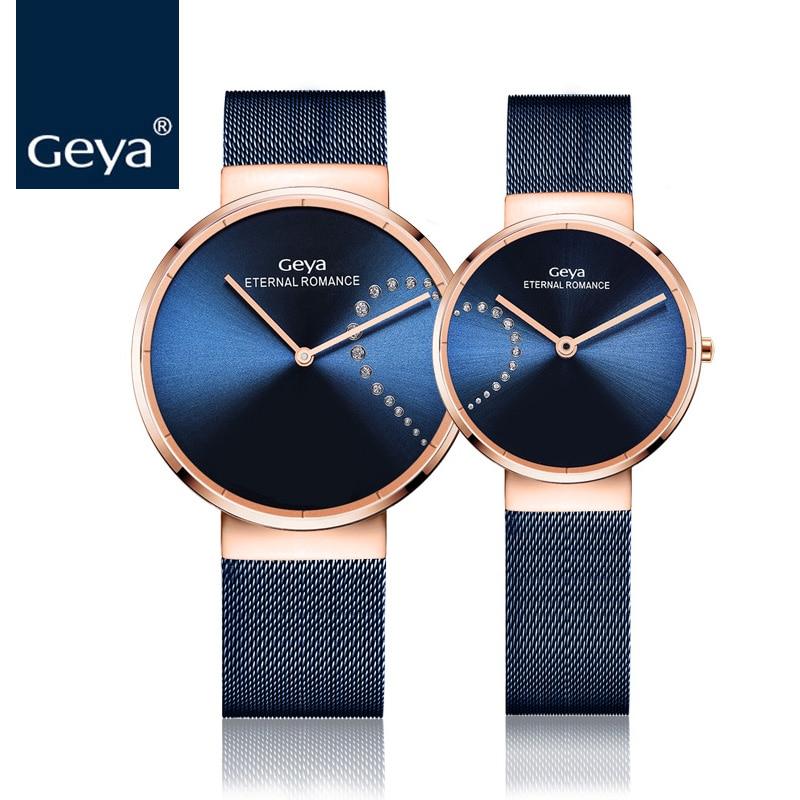 9d4ddfa548d39 Geya ساعة يابانية GL20 أحدث بسيطة النساء ووتش الأزياء الفولاذ المقاوم للصدأ  حزام الكوارتز ساعة اليد فريد زوجين ساعة للسيدات