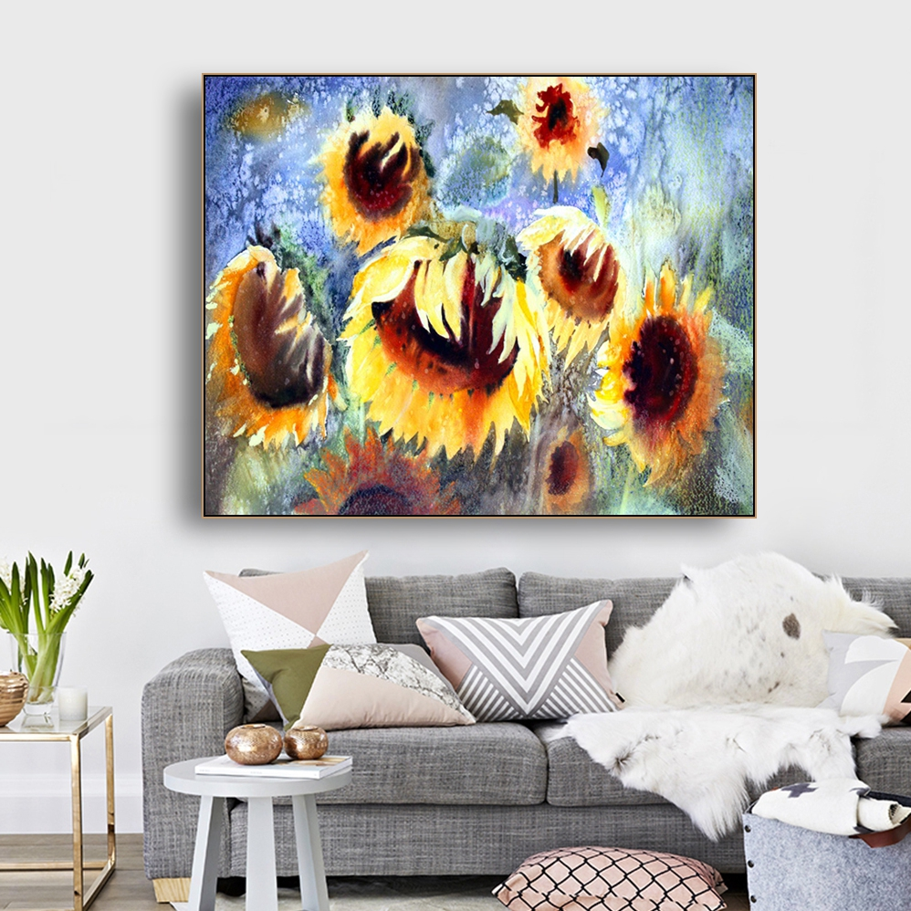 Mega Discount Dab30 Watercolor Sunflower Wall Art Canvas Poster