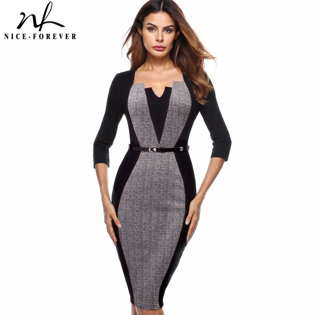Nice-forever Women Elegant Optical Illusion Patchwork Contrast Belted 2017 Vintage Slim Work Office Business Bodycon Dress B405