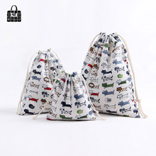1pcs Cute Cartoon cat 100% Cotton Bunch Pocket Travel Accessories Clothing Toys Storage Bag Organizers Multi-Function