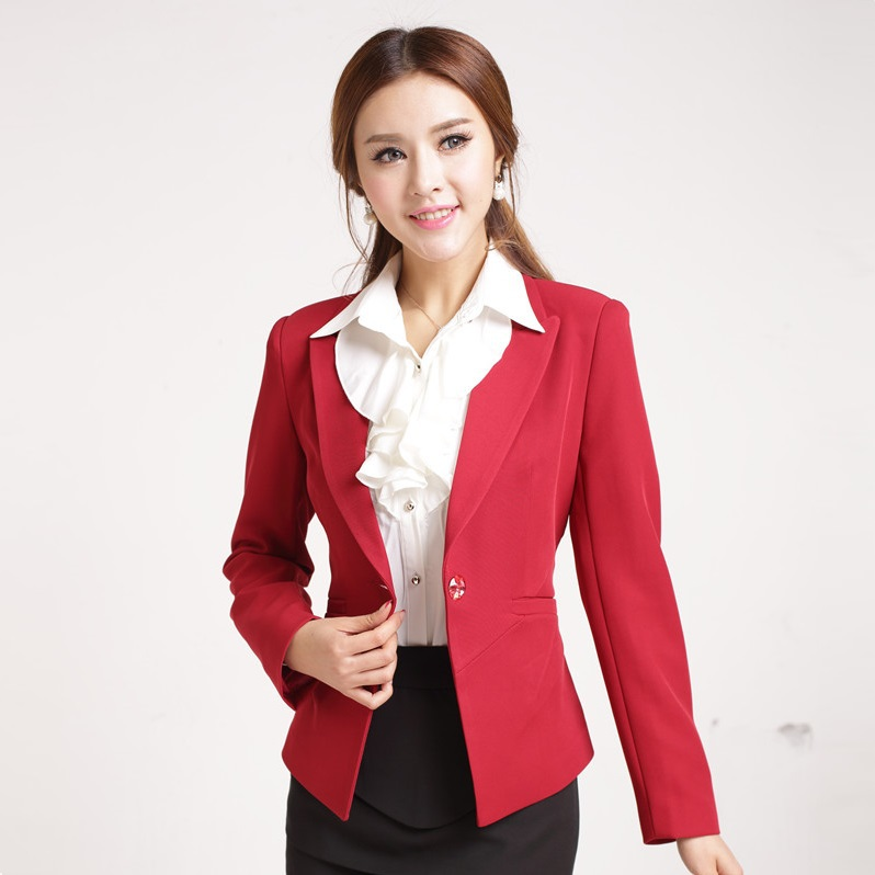 Formal Blaser Feminino Red Blazer Women Jackets Work Wear Clothes ...