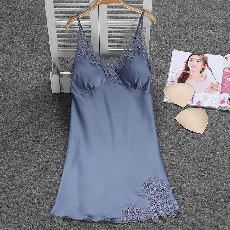 sexy young girls flower decoration beautiful satin nightgowns with padded sleeveless mini length sleepwear home nighties