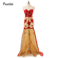 Real Sample Sweetheart High Low Tulle Red Appliques Cheap Mermaid Evening Dresses 2017 Long Prom Dresses Party Dresses FE67