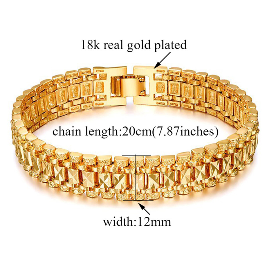 Chunky Mens Hand Chain Bracelets Male Wholesale Bijoux Silver/Gold Color Chain Link Bracelet For Men Jewelry pulseira masculina 3