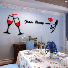 Romantic red wine glasses Red lips 3D wall sticker living room dining Acrylic Decorative stickers Wedding warm decoration