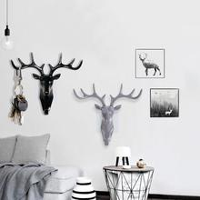 Cute Deer Head Animal Self Adhesive Clothing Display Racks Hook Coat Hanger Cap Room Decor Show Wall Bag Keys Sticky Holder