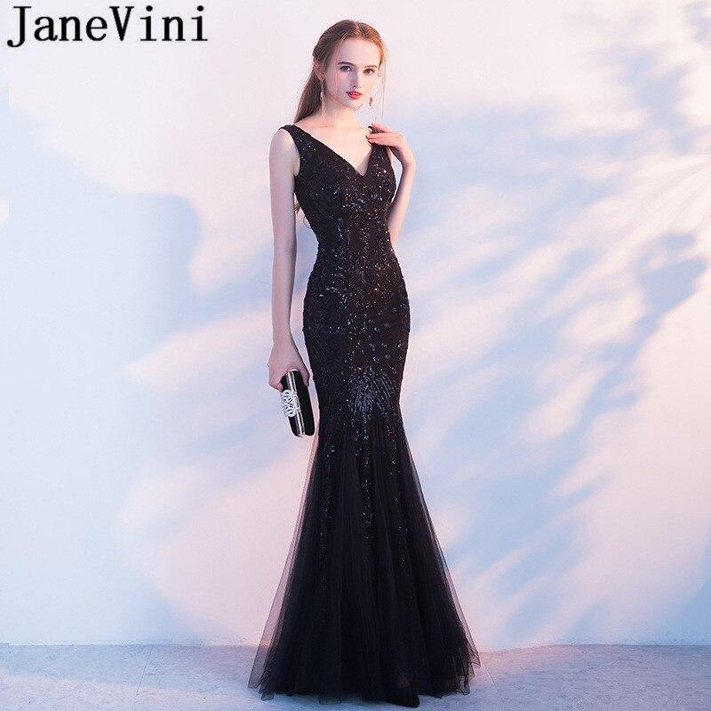 JaneVini Black Mermaid   Prom     Dresses   Long V-Neck Shiny Sequined Party Gala   Dress   Floor Length Tulle Formal Gowns Vestidos   Prom