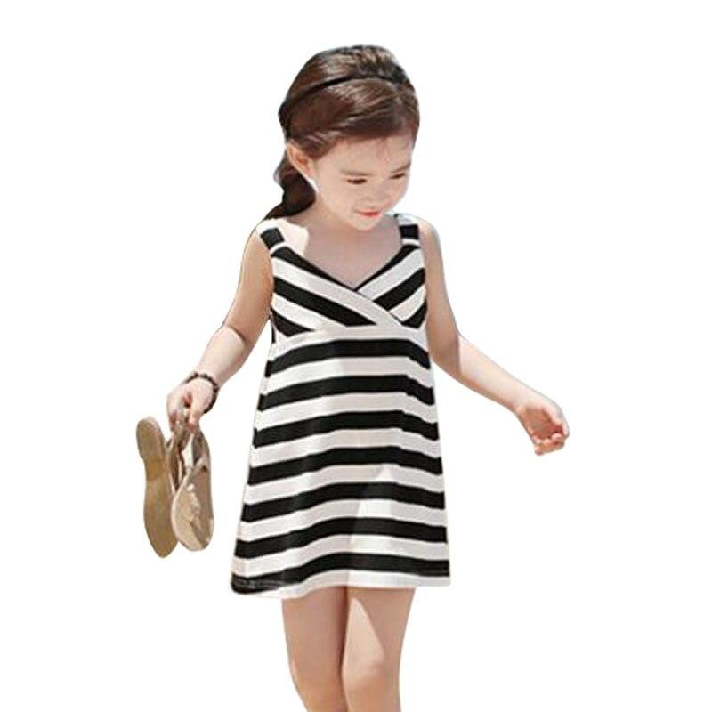 232e0e3c45b 2018 New Children Clothes Girls Summer New Black White Striped Sleeveless  Dress For Girls Kids Clothing ...