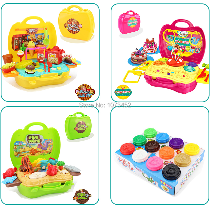 Plasticine and tool kit slime toys color dough playhouse dino world &cinema snackbar cake&party DIY clay set brinquedos for kids