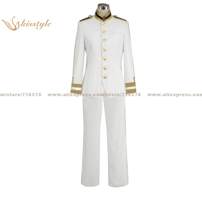 Kisstyle Fashion Hetalia: Axis Powers Japan Honda Kiku White Unifrom COS Clothing Cosplay Costume,Customized Accepted