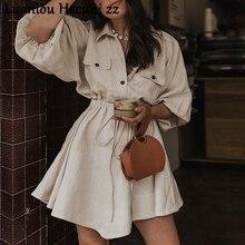 Chu Ni, элегантное льняное короткое платье-рубашка, женское Хлопковое платье с длинным рукавом и пуговицами, Женские винтажные летние платья, повседневные платья ZX88