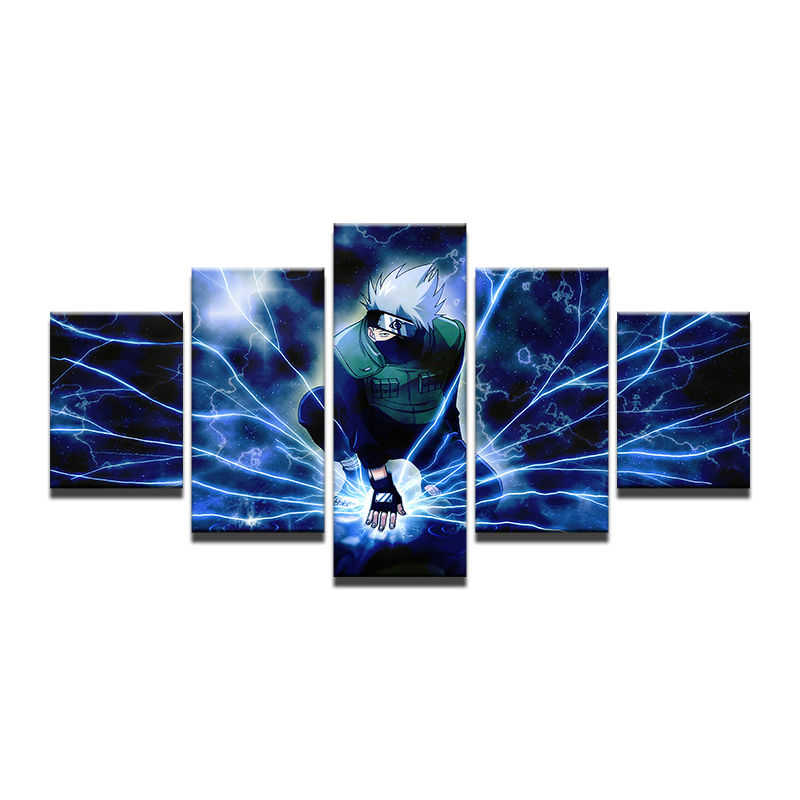 5 Pieces/set  Canvas Paintings Naruto Cartoon Lightning Cartoon Poster Pictures for home decor print frame wall art WD-1212
