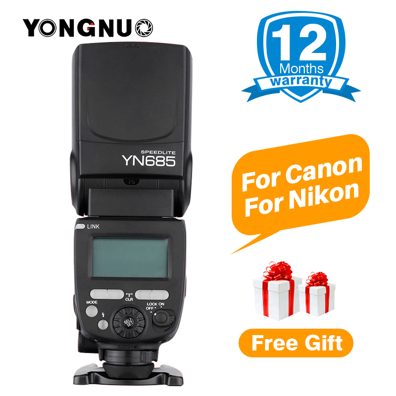 YONGNUO YN685 E-TTL Flash Speedlite 1/8000s Radio Slave Mode Flash Light YN685C YN685N for Canon Nikon YN622N YN560-TX RF603 II spash sl 685c gn60 wireless master slave flash light ttl speedlite for nikon lcd screen cameras flash adjustable fill light