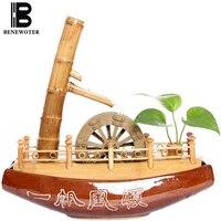 110 В/220 В творческий бамбука лодка течет фонтан офисные Гостиная Desktop фэн шуй колеса украшения Lucky Главная украшения