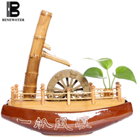110V/220V Creative Bamboo Boat Flowing Water Fountain Office Living Room Desktop Feng Shui Wheel Decoration Lucky Home Ornaments