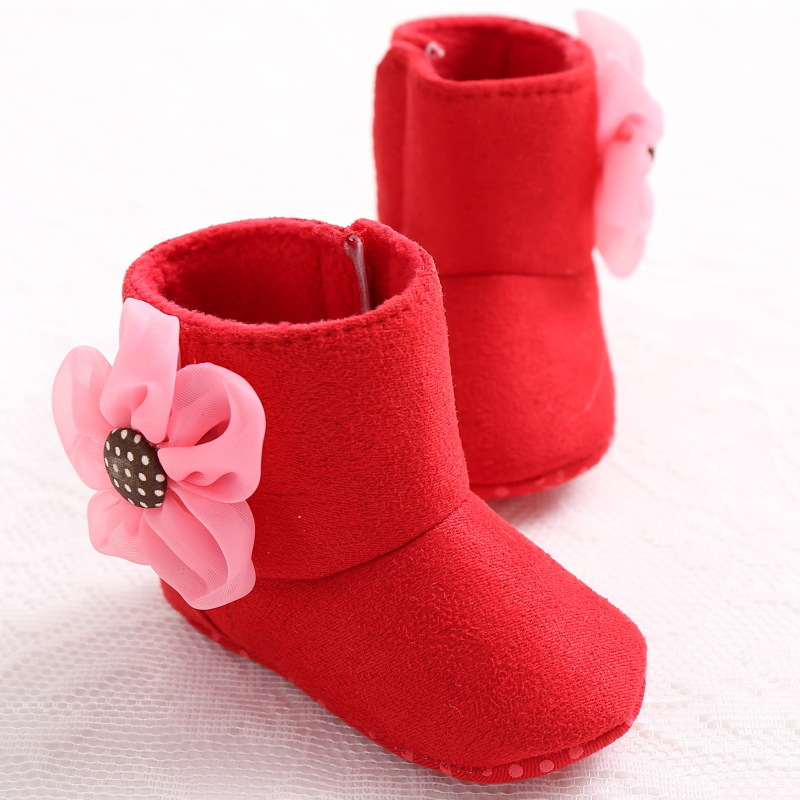 a0ec5620fbbd First Infant Warm Girl Suede Shoes Walker Girls Toddler Boots Crib Winter  Dimensional Flower Baby Soft Lovely Newborn OPZgHWY