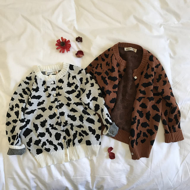 5pcs/lot Autumn Girls Sweaters Leopard Print Kids Clothes Baby ...