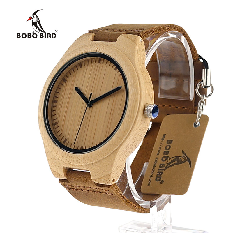 BOBO BIRD Simplicity Lovers' Wooden Watches Handmade Bamboo Quartz Watch With Leather Strap For Men Women As Gift Item
