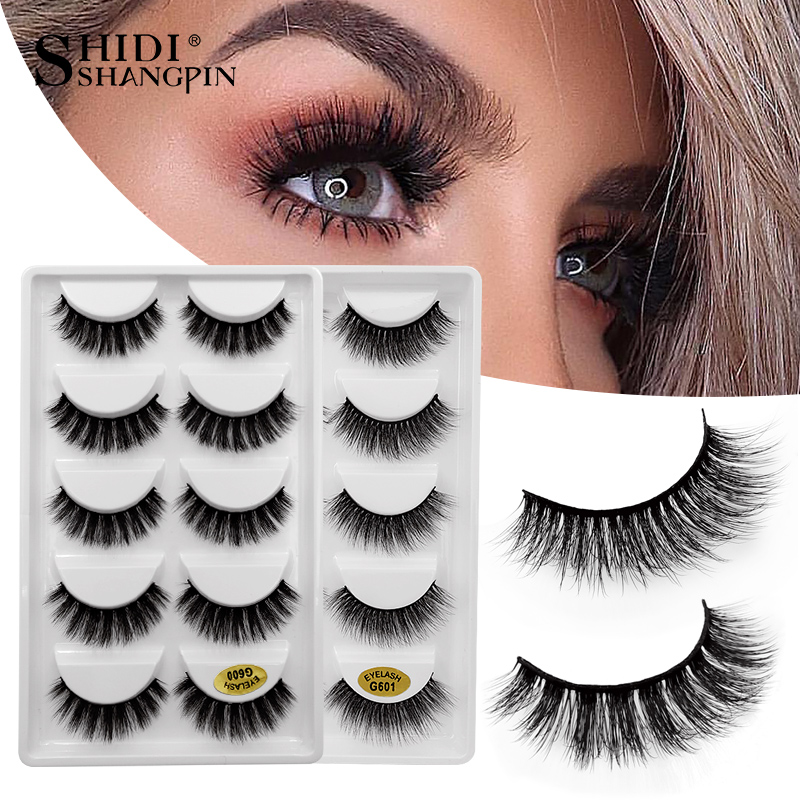 SHIDISHANGPIN 5 Pairs Eyelashes Hand Made 3d Mink Lashes Natural Long Soft Mink Eyelashes Full Strip Lashes Makeup Faux Cils G60