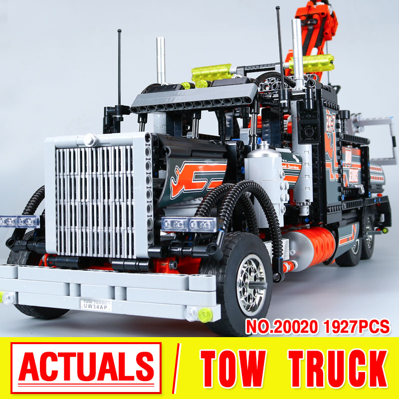 2017 New LEPIN 20020 1877Pcs Technic Series Pneumatic Tow Truck Model Building Kits  Blocks Bricks Toys Gift With 8285 2017 new lepin 20009 1977pcs technic claas xerion 5000 trac vc model building kits blocks bricks compatible toys gift with 42054