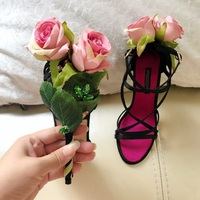 Luxury Pink Rose Flower Decor Woman sandals black suede colorful rhinestone decor cover heel Sexy Pumps female party dress shoes