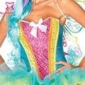 Sequin Burlesque Corset Top Mujeres del arco iris de Neón Ropa Delirio Sexy Corsés Corpete Corselet Espartilho Lentejuelas Unicornio Traje Kit
